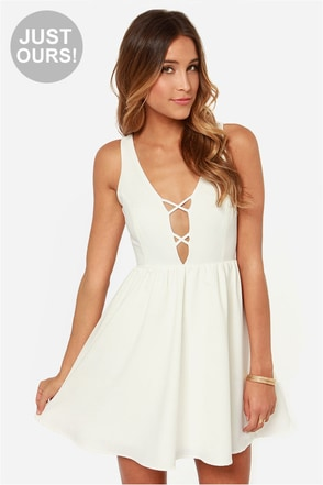 LULUS Exclusive Let's Run Away Ivory Dress