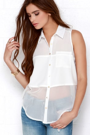 Opaque It Till You Make It Ivory Button-Up Top at Lulus.com!