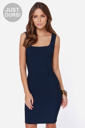 LULUS Exclusive Body Language Navy Blue Bodycon Dress