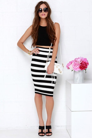 Mink Pink Groovey Black and Ivory Striped Midi Skirt at Lulus.com!