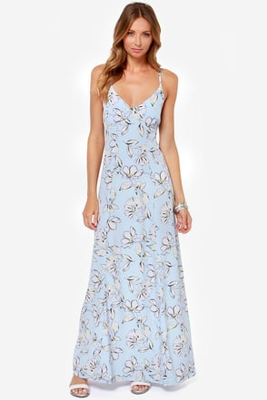 BB Dakota Elvya Blue Floral Print Maxi Dress