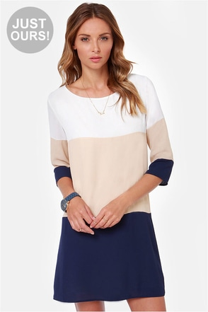 LULUS Exclusive Citrus Grove Beige and Navy Blue Shift Dress