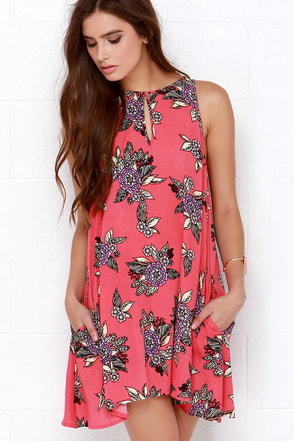 Mink Pink Cherry Pie Coral Pink Floral Print Dress at Lulus.com!