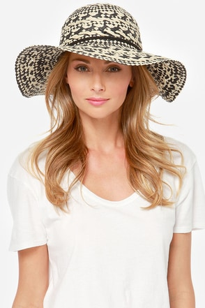 Roxy Summer Time Black and Ivory Straw Hat