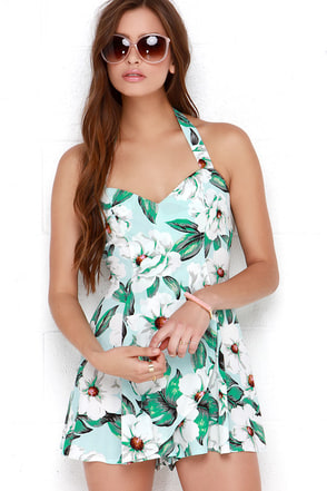 Mink Pink Getaway Light Blue Floral Print Romper at Lulus.com!