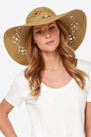 Roxy Shady Days Beaded Brown Straw Hat