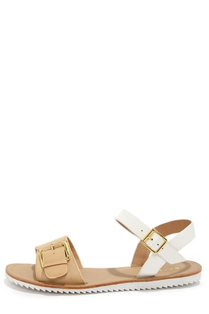 Bamboo Hearten 01 Sand and White Flat Sandals