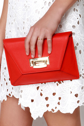 Shape Expectations Coral Red Purse at Lulus.com!