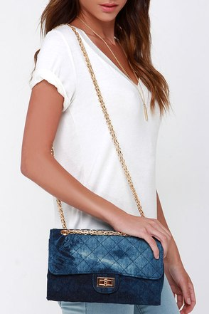 Magic Jeanie Dark Blue Denim Purse at Lulus.com!