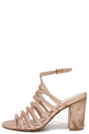 Seychelles Highland Rose Gold Leather Caged Heels at Lulus.com!