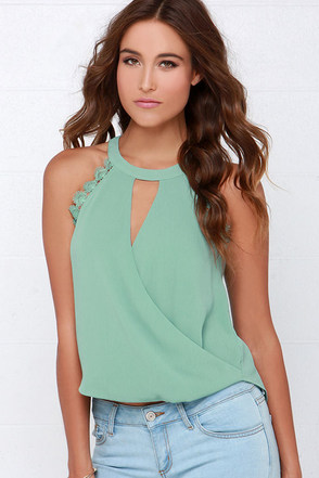 Poetic Performance Sage Green Lace Top at Lulus.com!