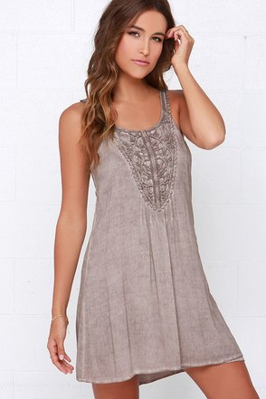 Black Swan Serene Washed Brown Lace Dress at Lulus.com!