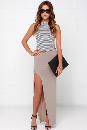 Crowd-Puller Taupe Maxi Skirt at Lulus.com!