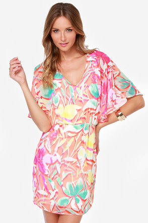Mai Tai Join You? Coral Floral Print Dress