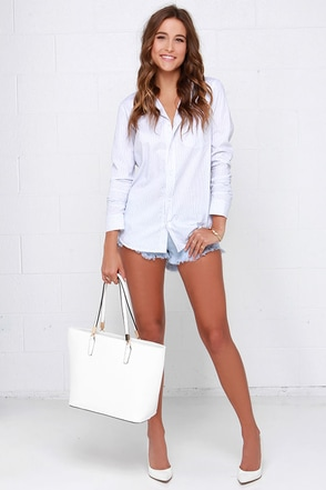Off the Dock White and Navy Striped Button-Up Top at Lulus.com!