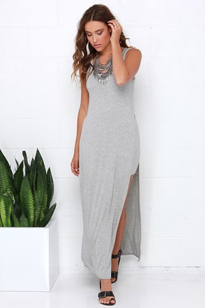 Divvy Up Heather Grey Maxi Dress at Lulus.com!