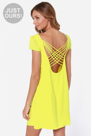 LULUS Exclusive Double Crosser Bright Yellow Shift Dress