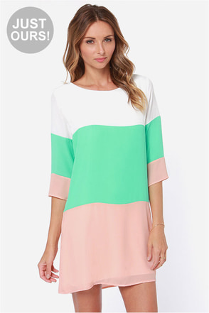 LULUS Exclusive Citrus Grove Beige and Mint Shift Dress