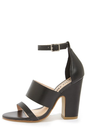 Chelsea Crew Black Label Ollie Black Leather High Heel Sandals