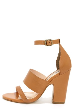 Chelsea Crew Black Label Ollie Tan Leather High Heel Sandals