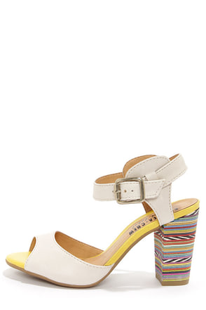 Chelsea Crew Black Label Brit Cream and Yellow Rainbow Heels