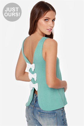 LULUS Exclusive Bows in a Row Grey Tank Top
