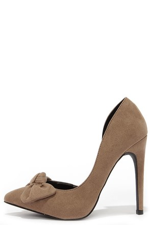 Rock the Bow Taupe Suede D'Orsay Pumps at Lulus.com!