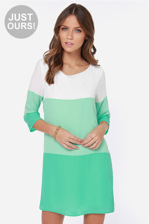 LULUS Exclusive Citrus Grove Orange and Mint Shift Dress