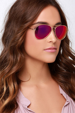 Fly By Night Gold and Purple Mirrored Aviator Sunglasses at Lulus.com!