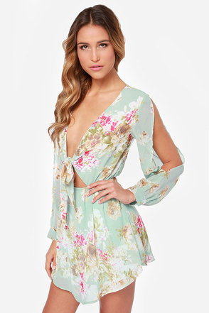 Rosa Palooza Mint Floral Print Dress