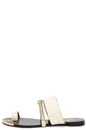 LFL L-Dash White Flat Sandals at Lulus.com!