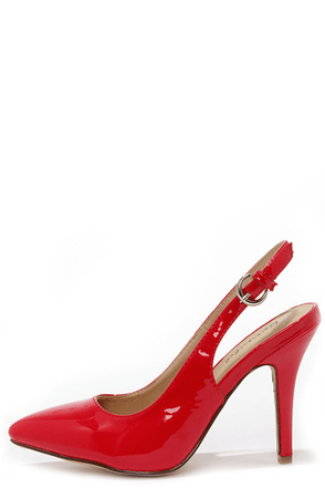 High-Stepper Red Patent Slingback Heels at Lulus.com!