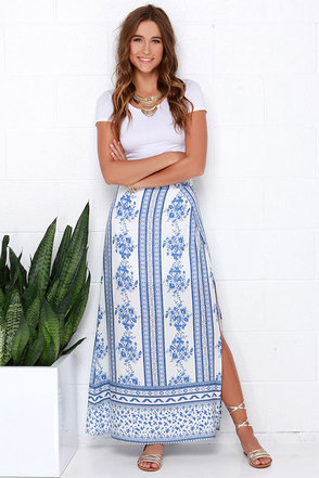 Florist Avenue Blue Print Maxi Skirt at Lulus.com!