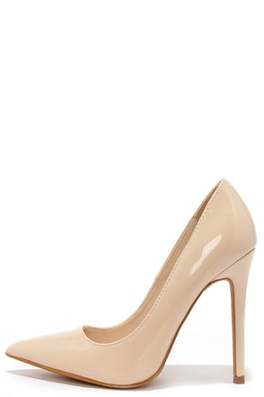 Aisle Be Waiting Taupe Blush Patent Pointed Pumps at Lulus.com!