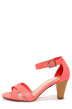 City Classified Suite Red Ankle Strap Heels