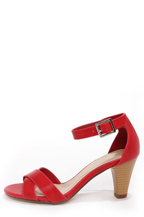 City Classified Suite Salmon Ankle Strap Heels