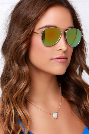 Fly By Night Gold and Yellow Mirrored Aviator Sunglasses at Lulus.com!