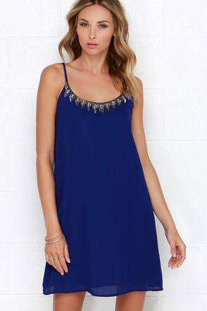 Mistress of Metal Royal Blue Beaded Dress at Lulus.com!