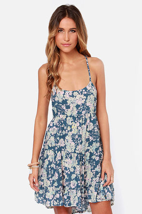 O'Neill Charity Blue Floral Print Dress