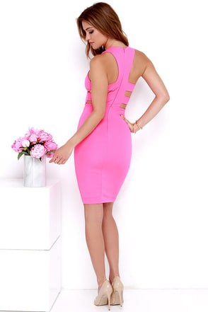 As You Are Hot Pink Bodycon Midi Dress at Lulus.com!