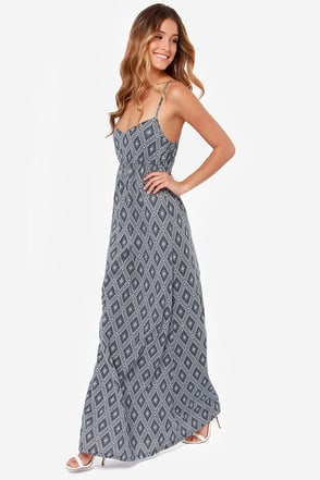 O'Neill Jenna Ink Blue Print Maxi Dress