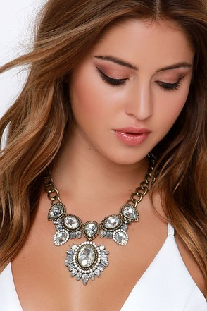 Amulet It Be Clear Rhinestone Statement Necklace at Lulus.com!