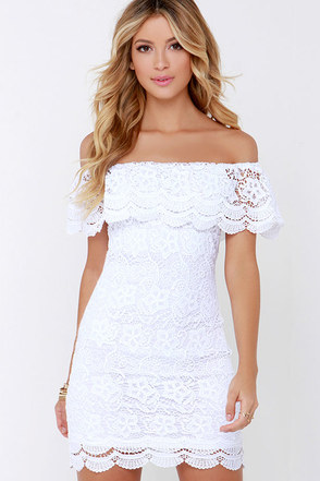 Islands in the Stream Coral Lace Off-the-Shoulder Dress at Lulus.com!