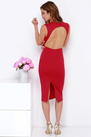 High Speed Chase Red Backless Midi Dress at Lulus.com!