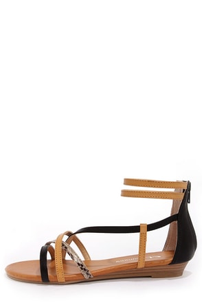 CL by Laundry Shannen Black and Beige Ankle Strap Sandals