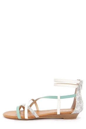 CL by Laundry Shannen Cool Mint and White Ankle Strap Sandals