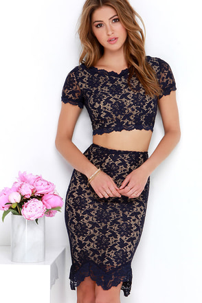 Love You Two Navy Blue Lace Two-Piece Dress at Lulus.com!
