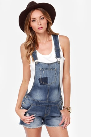 White Crow Orion Distressed Denim Overalls