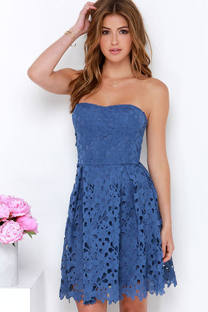 All is Fleur Denim Blue Strapless Lace Dress at Lulus.com!