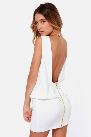 Keep on Dancing Backless Ivory Dress